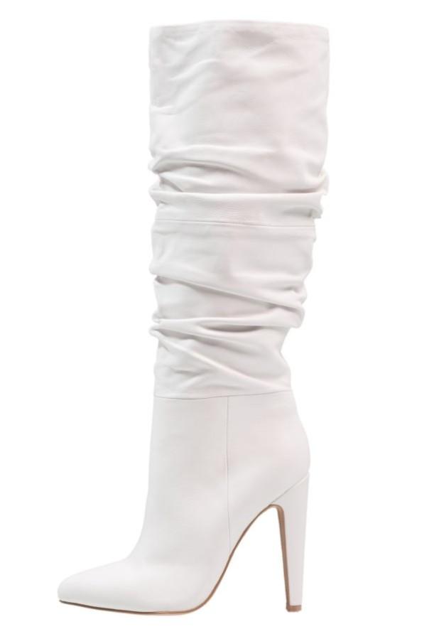 Модные белые сапоги на шпильке осень-зима 2018-2019