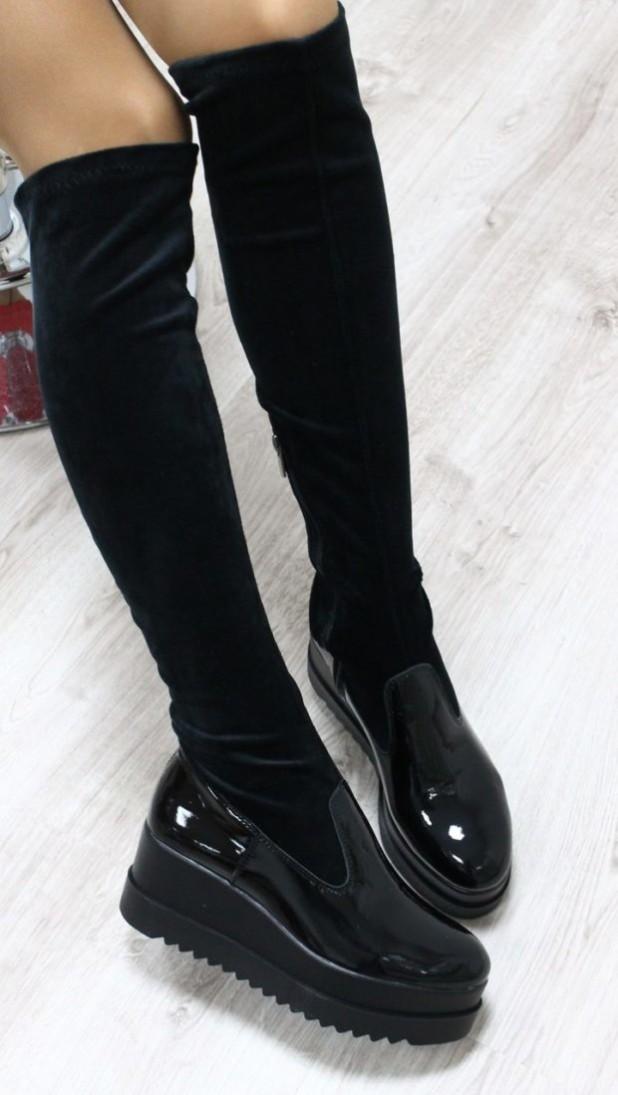 Модные черные сапоги чулки сезона осень-зима 2018-2019