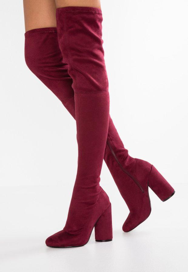 Модные бардовые женские сапоги