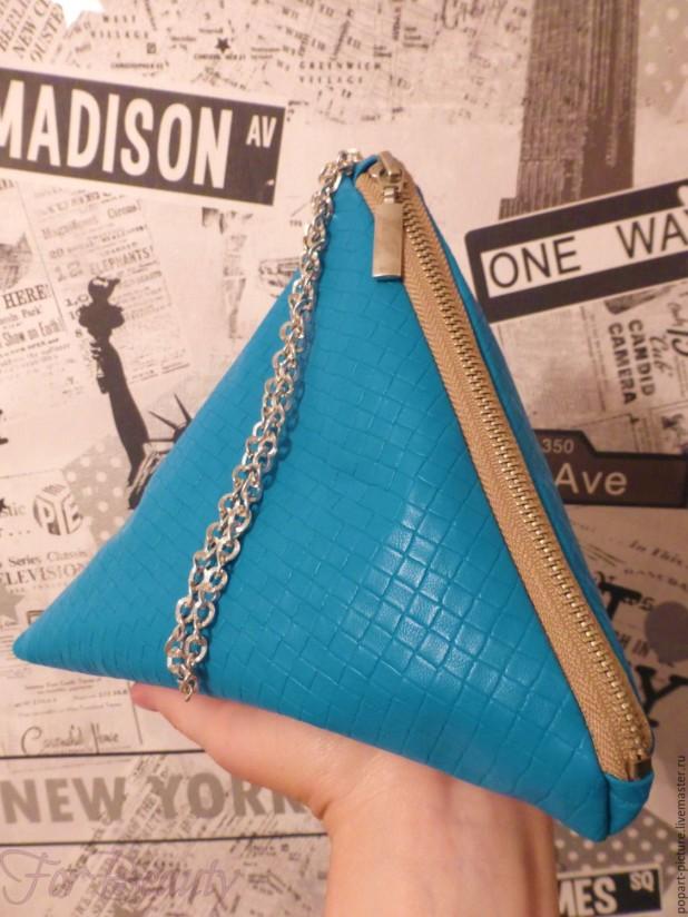 Модная синяя женская сумка треугольник 2018
