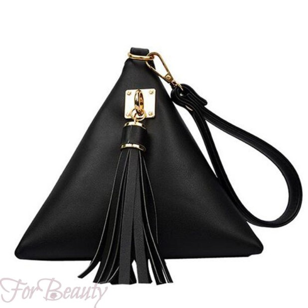 Модная черная женская сумка треугольник 2018