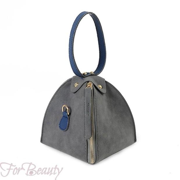 Модная серая женская сумка треугольник 2018