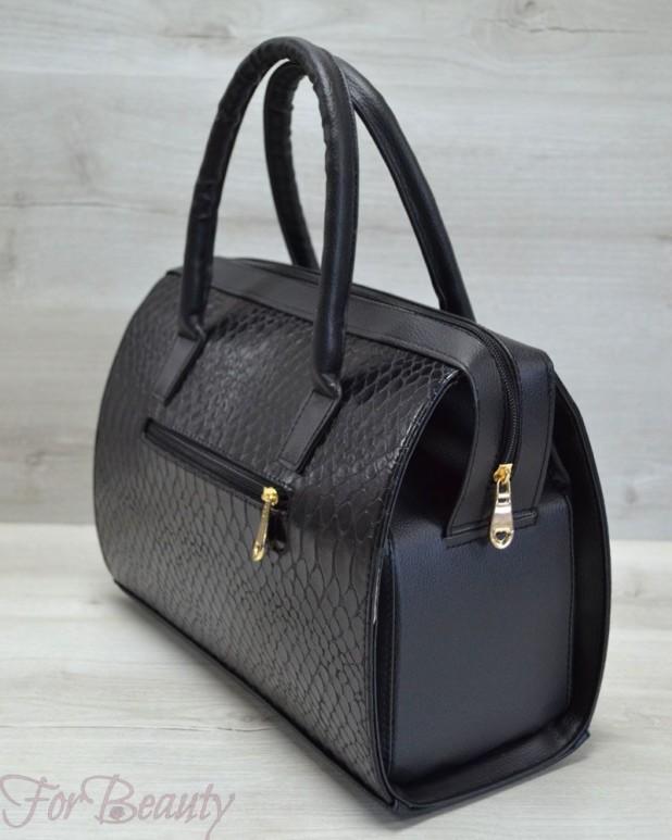 Модная черная женская сумка саквояж 2018