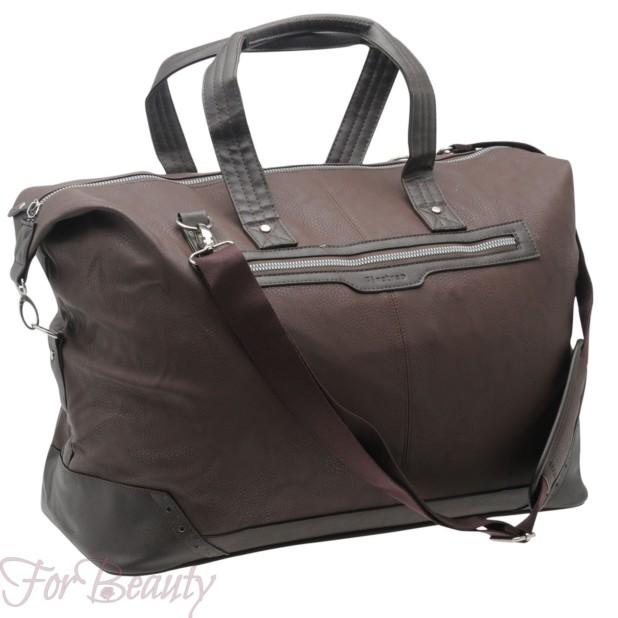 Модная коричневая женская сумка саквояж 2018