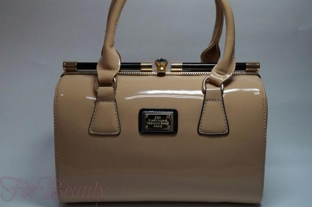 Модная бежевая женская сумка саквояж 2018