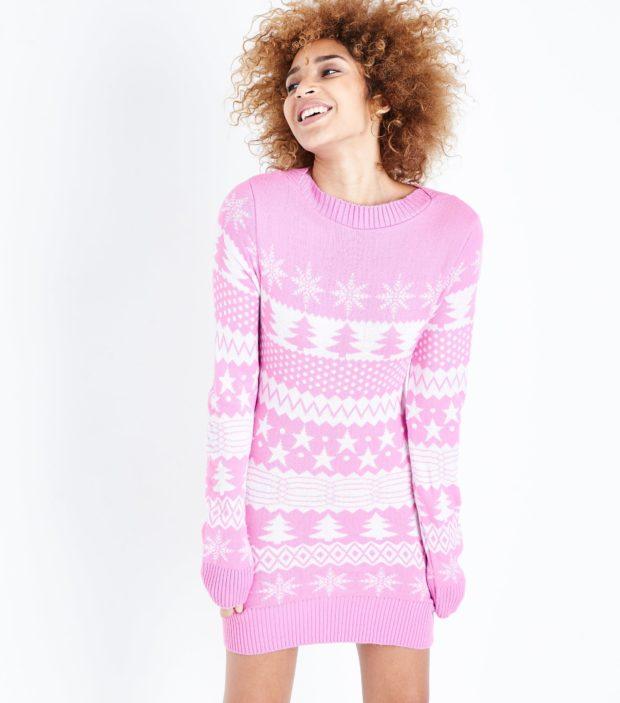 модные женские свитера 2020-2021: розовый с орнаментом