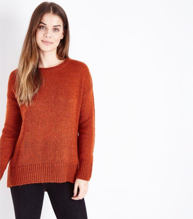 модные женские джемпера 2019-2020: темно-оранжевый