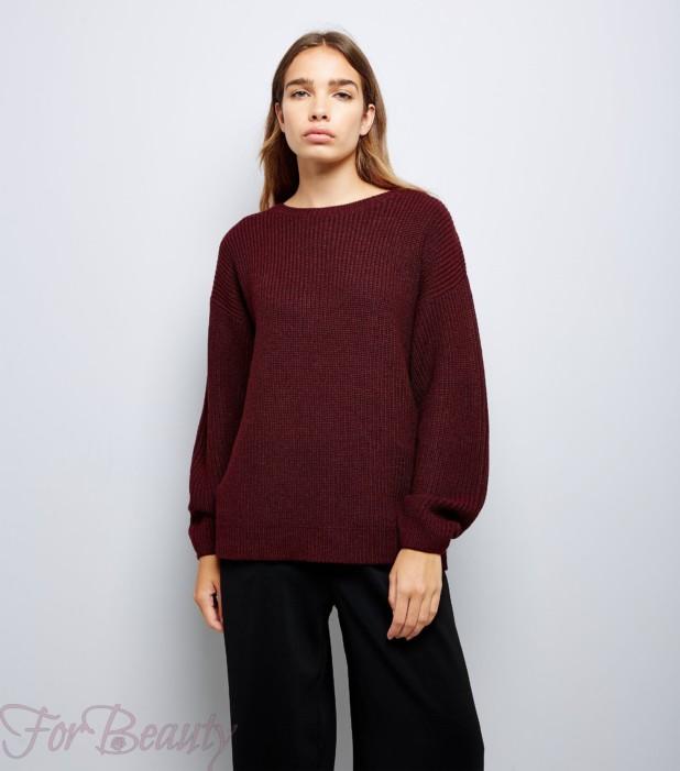 Модный бардовый свитер 2018
