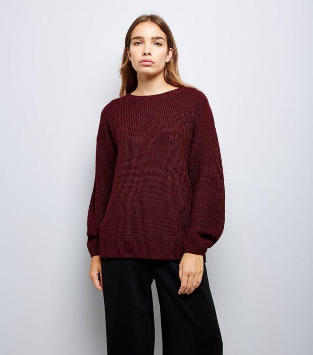 модные свитера осень 2019-2020 фото: бордовый
