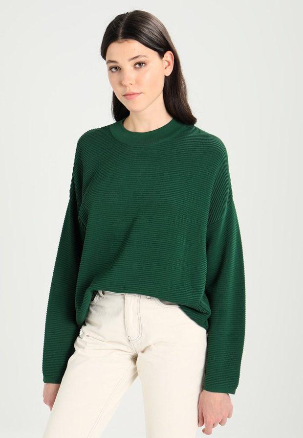 женские свитера 2019-2020: зеленый