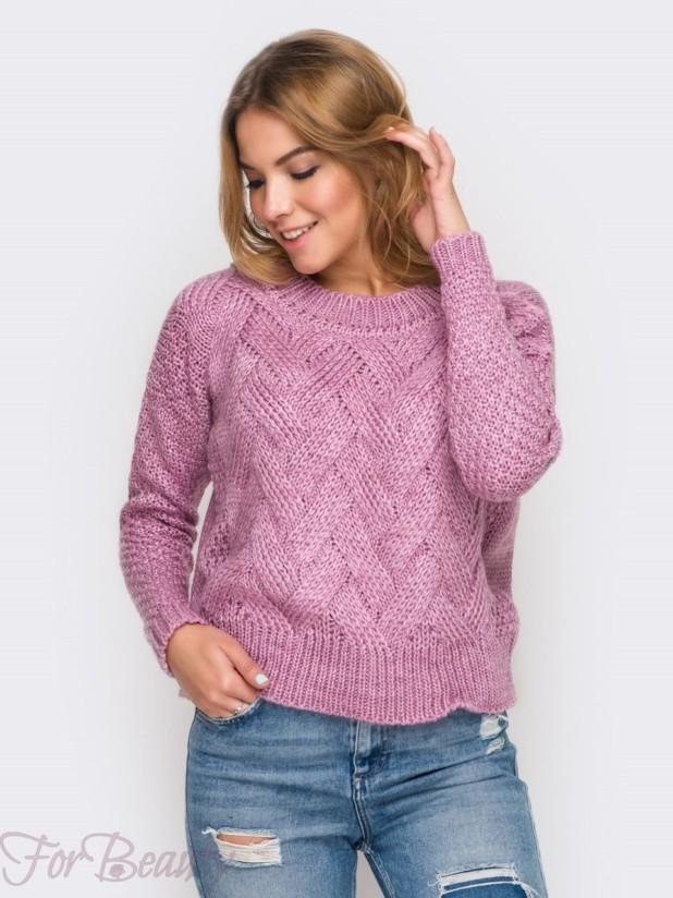 Модный розовый вязаный свитер осень-зима 2018 2019