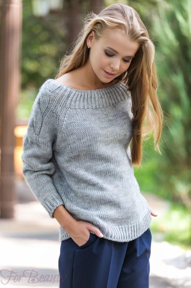 Модный серый вязаный свитер осень-зима 2018 2019