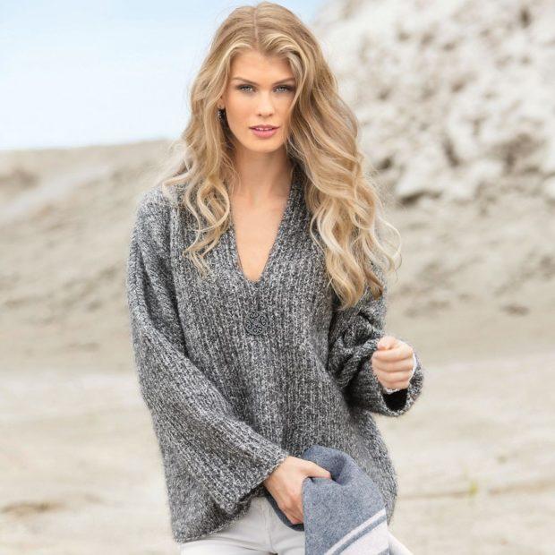 модные свитера осень зима 2019-2020 фото: темно-серый мешковатый