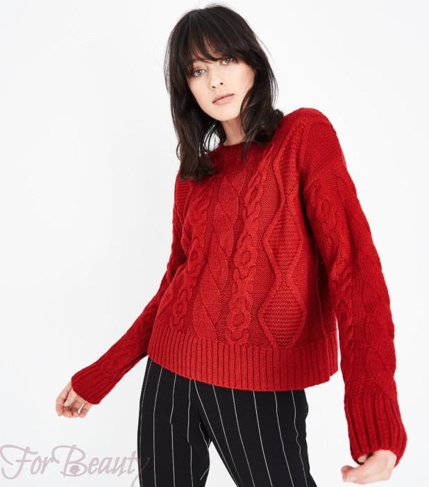 Модный красный свитер 2018