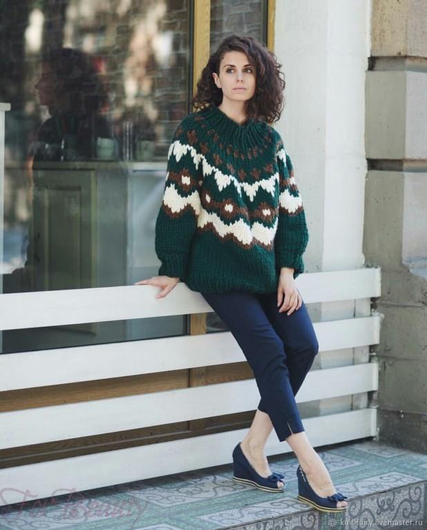 Модный зеленый мешковатый свитер осень-зима 2018 2019