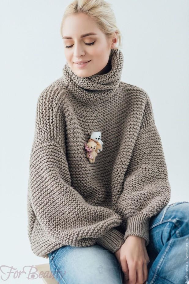 Модный серый мешковатый свитер осень-зима 2018 2019