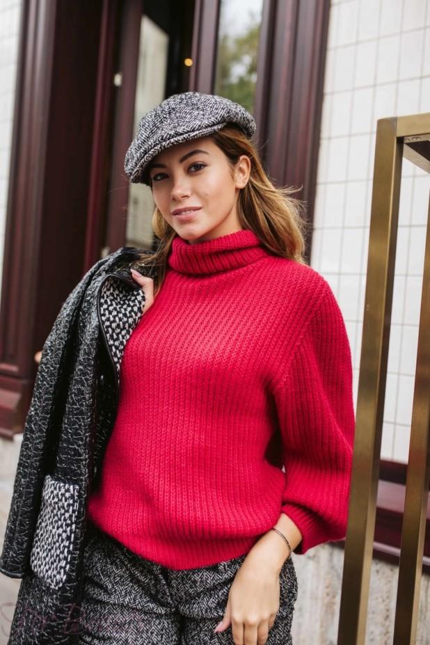 Модный красный мешковатый свитер осень-зима 2018 2019