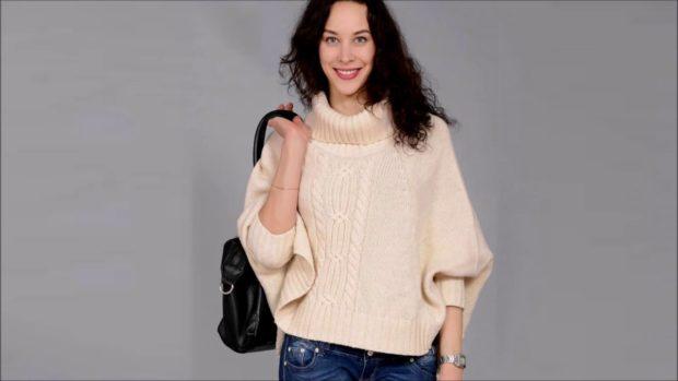 модные свитера осень зима 2019-2020 фото: кремовый вязаный