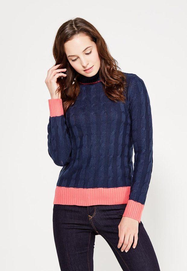Модный синий свитер с высоким воротом осень-зима 2019-2020