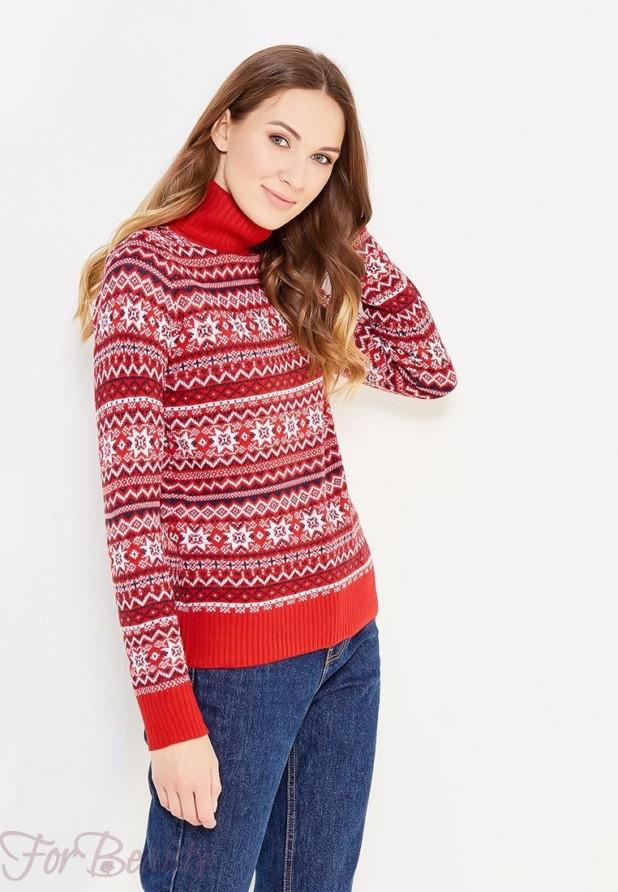 Модный красный свитер с высоким воротом осень-зима 2018 2019