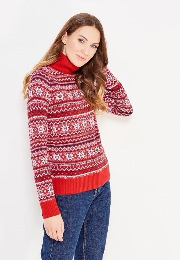 Модный красный свитер с высоким воротом осень-зима 2019-2020