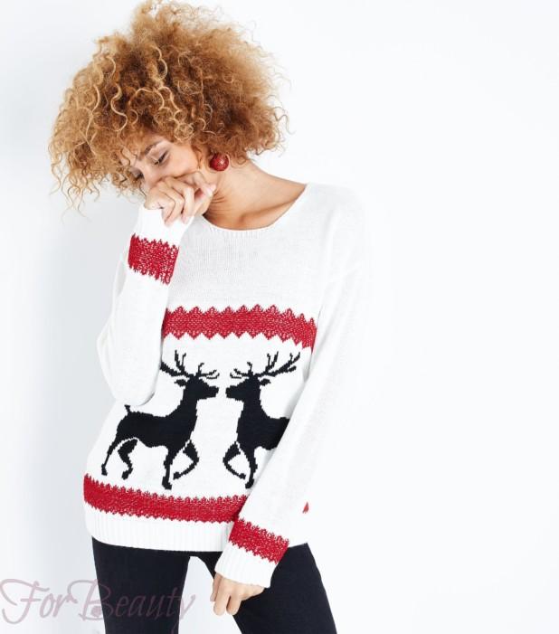 Модный свитер с оленями 2018