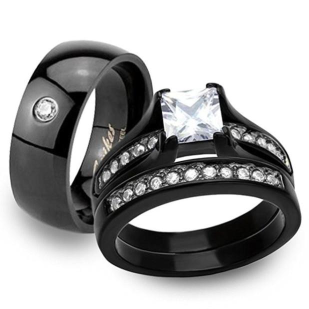 Стильные обручальные кольца черного цвета