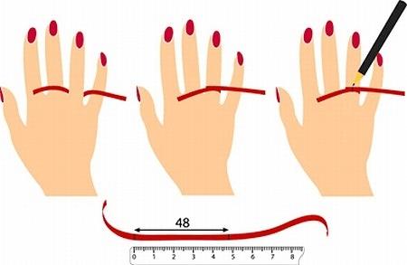 Определение размера обручальных колец с помощью нитки