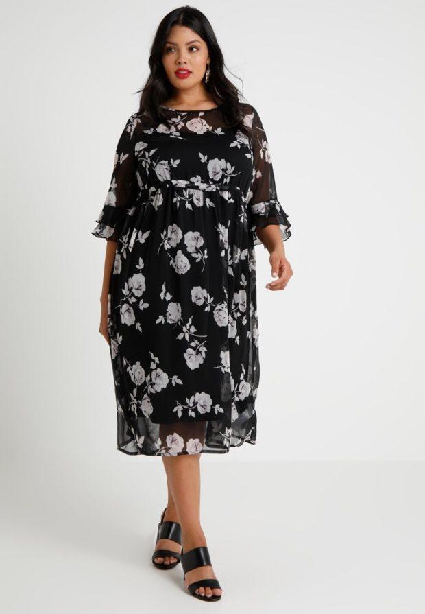 Модное черное платье в цветок для полных 2018-2019