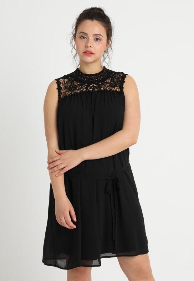 Модное черное платье для полных 2018-2019