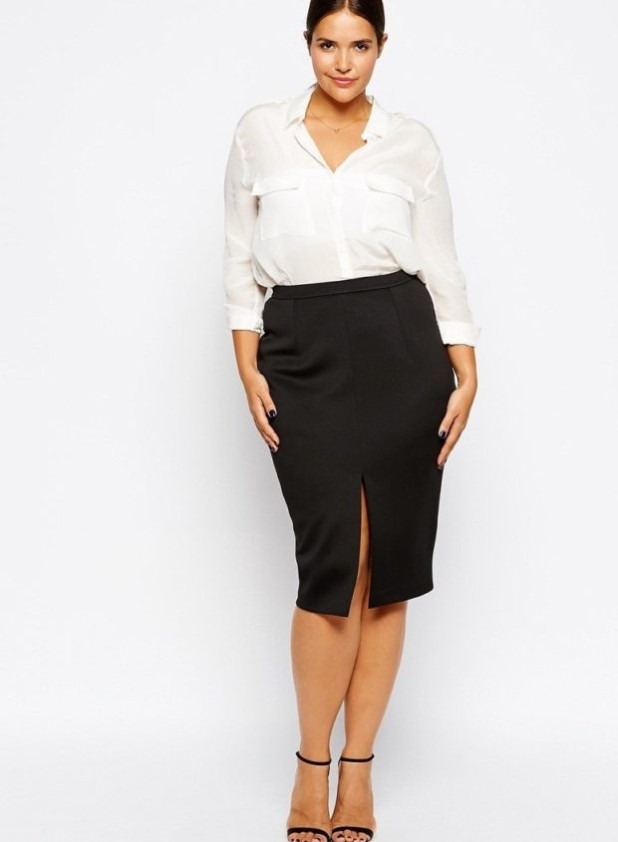 черная юбка для полных