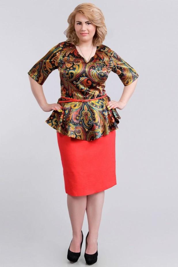красная юбка для полных