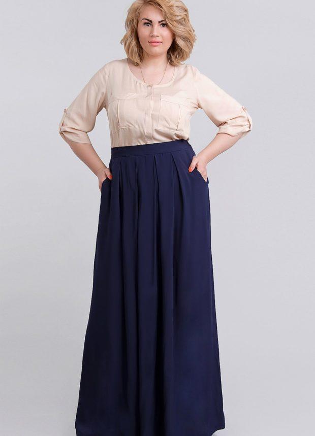 синяя юбка для полных