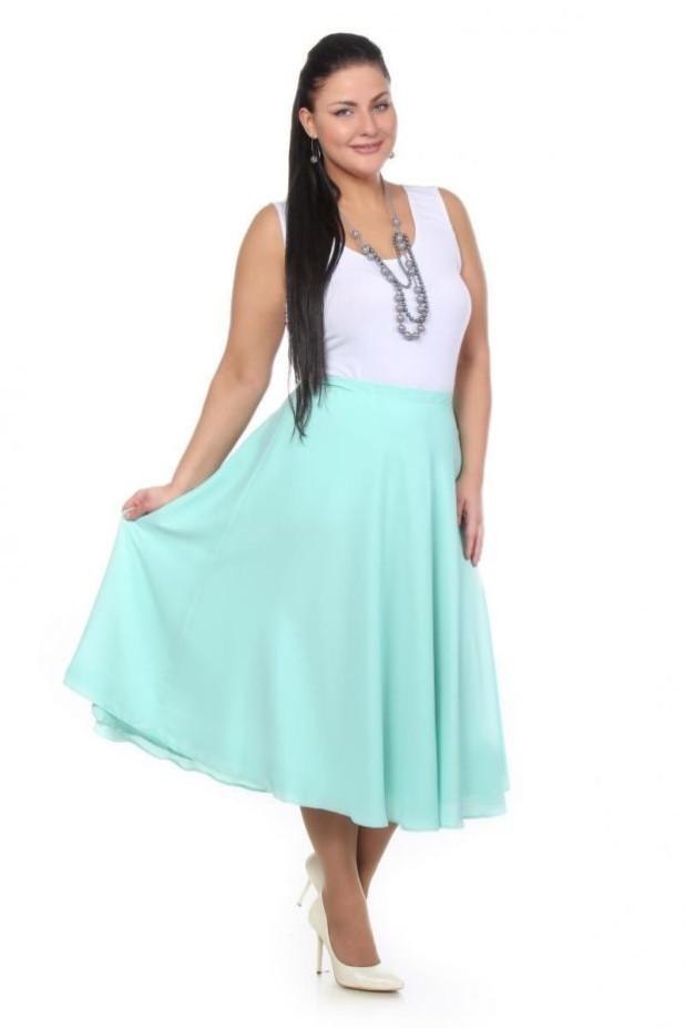 голубая юбка для полных