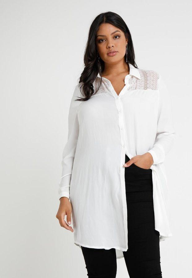 мода для полных: белая блузка