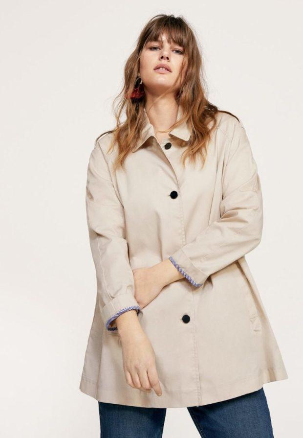 мода для полных: бежевое пальто