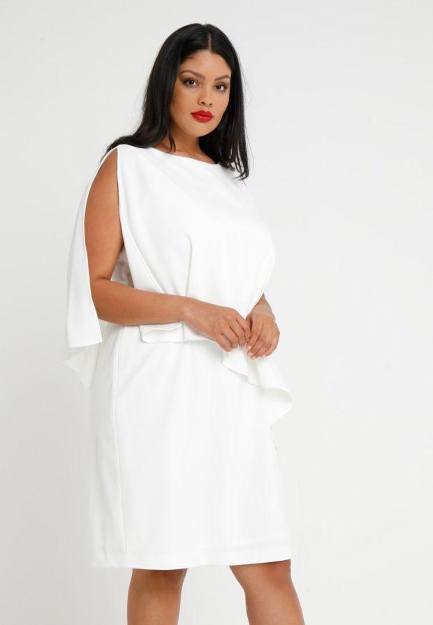 мода для полных 2018-2019: белое платье