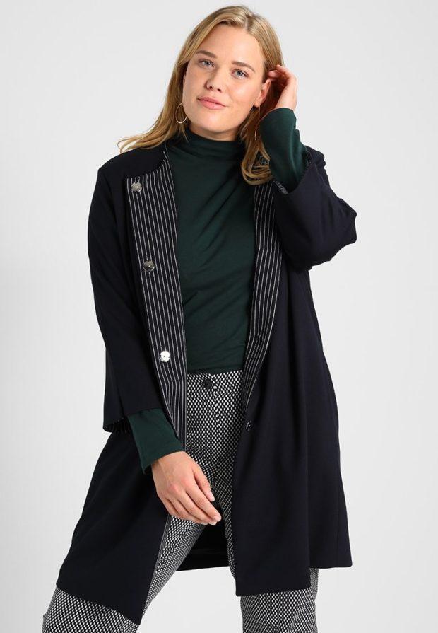 мода для полных: черное пальто