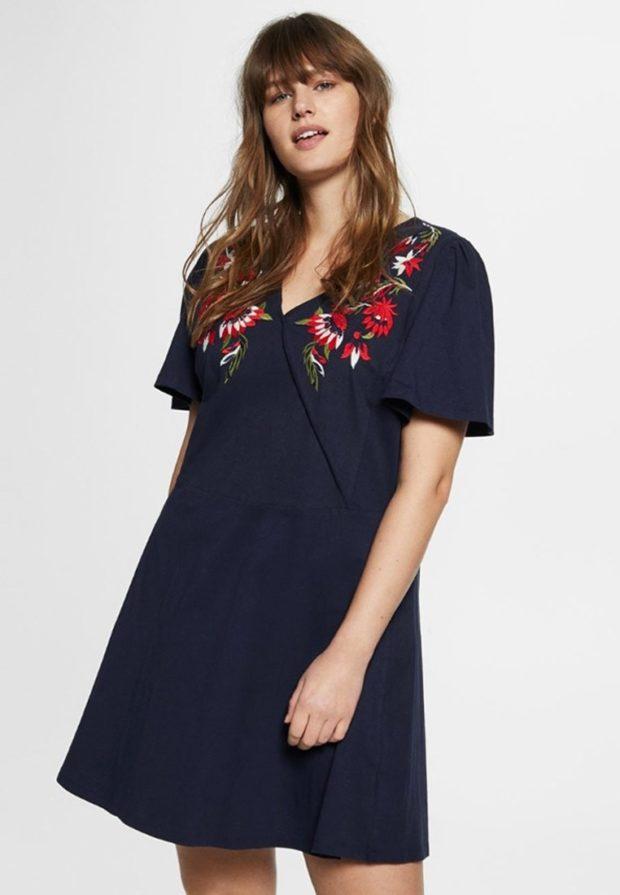 Модное синее платье для полных 2018-2019
