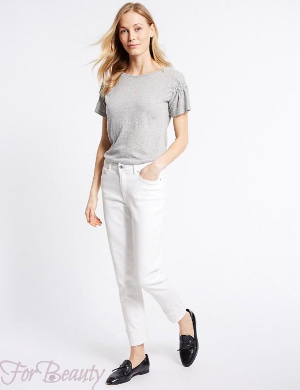 Модные белые джинсы в базовом гардеробе 2018 фото тенденции