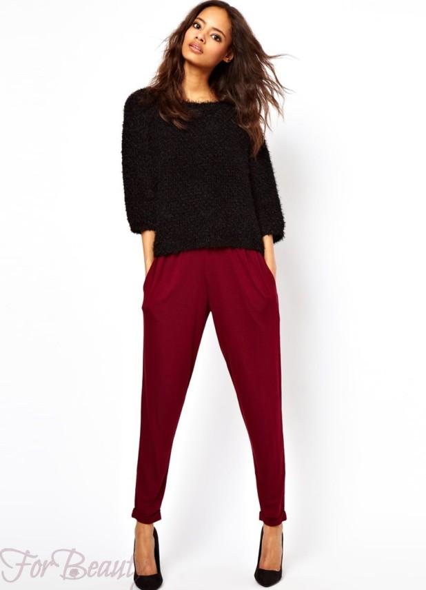 Модные бардовые брюки-дудочки в базовом гардеробе 2018