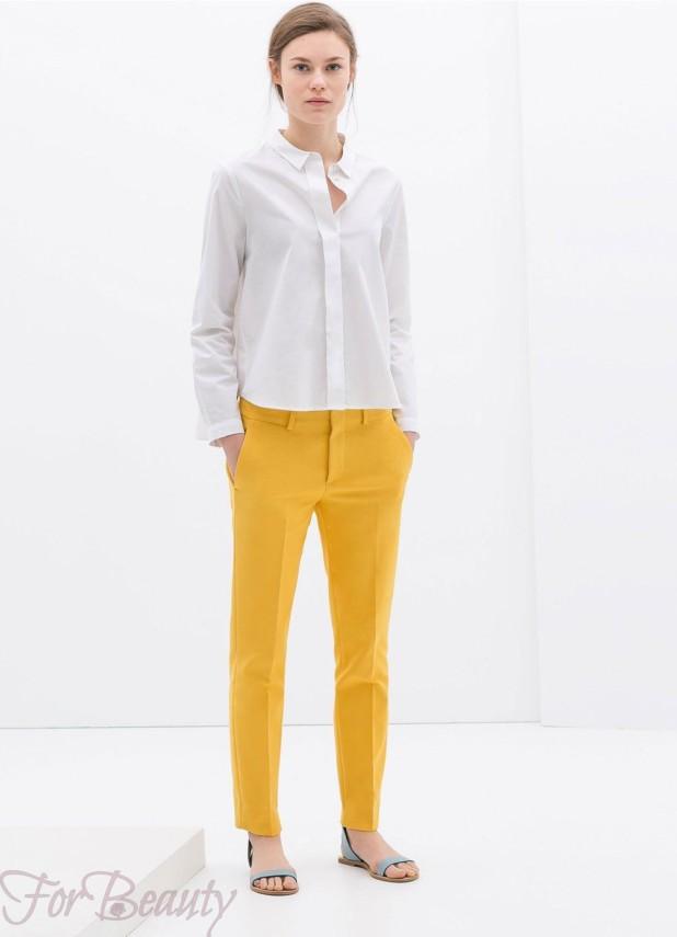 Модные желтые брюки-дудочки в базовом гардеробе 2018
