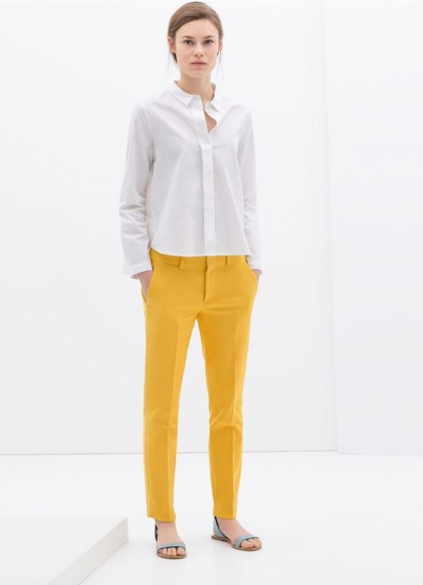 базовый гардероб 2018-2019: Модные желтые брюки-дудочки