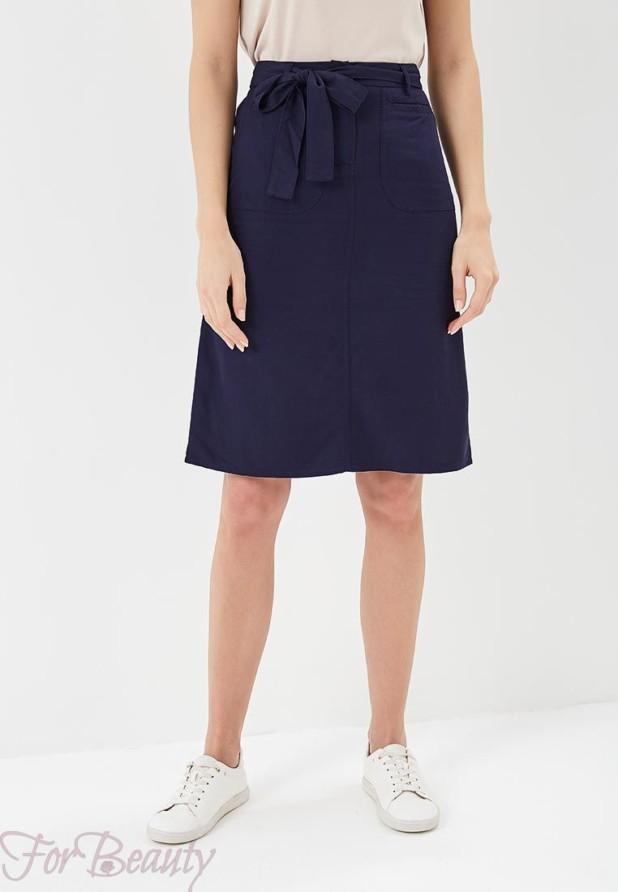Модная синяя юбка в базовом гардеробе 2018