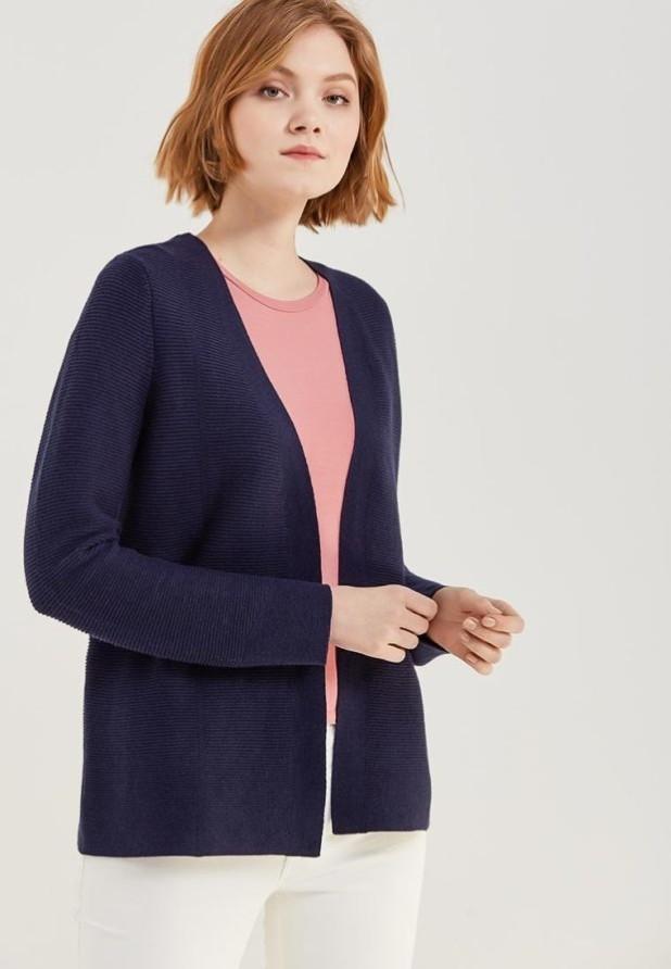 Модный синий кардиганв базовом гардеробе