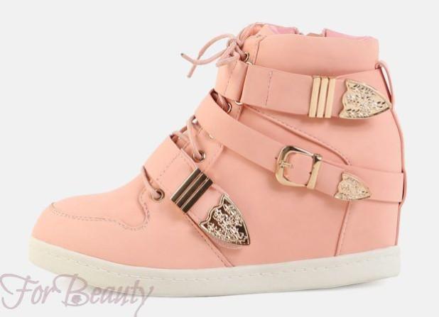Модные розовые женскиесникерсы2018-2019