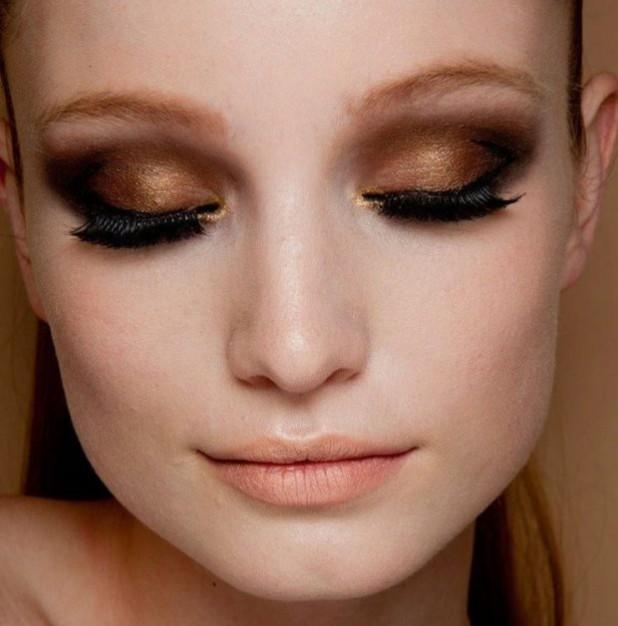 Модный макияж с коричневым оттенком 2019