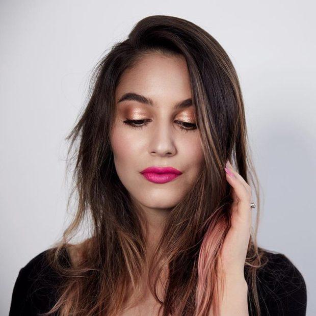 макияж с помадой цвета фуксии 2019