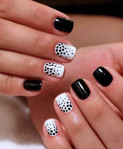 черно-белые цвета шеллака осенне-зимнего маникюра