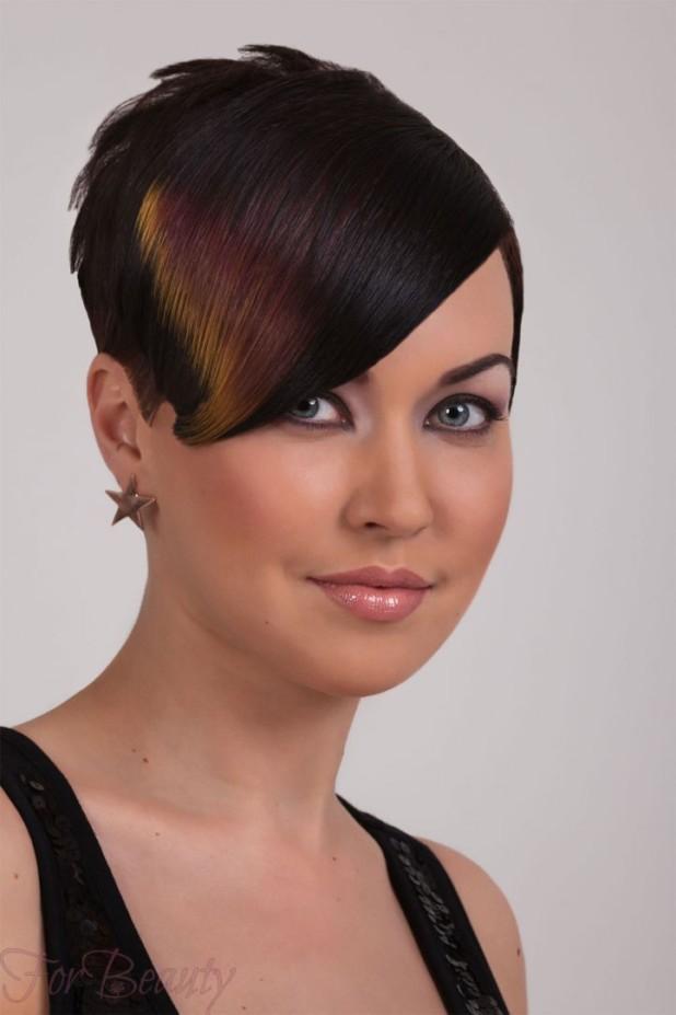 Мелированиечелки на тёмные и чёрные волосы фото